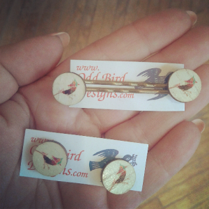 Hand-inked jay bird studs earrings and hairpins from Odd Bird. Printed on tiny slices of fallen branches, these colourful jays are retro-licious and just a tiny pop of cheekiness. Earrings on coated brass backings, hairpins on brass crimped pins.
