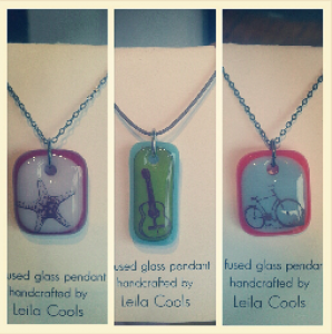 Fused glass pendants from Leila Cools. Each unique pendant features a one-of-a-kind colour and image combination. A Fresh Collective best-seller for years, these are available in a multitude of shapes, sizes and images to suit every wearer.