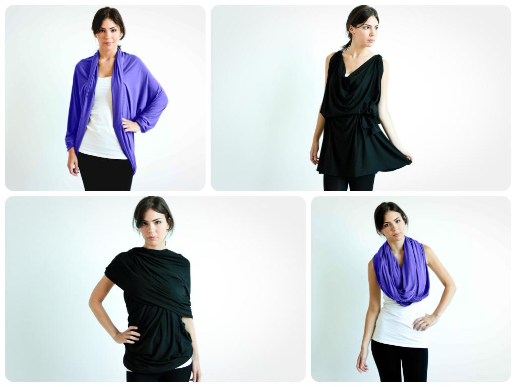 The Chrysalis Cardi as an original cardigan (top left) the X-back halter (bottom left), the grecian tunic (top right) and a one shoulder dress (bottom right).
