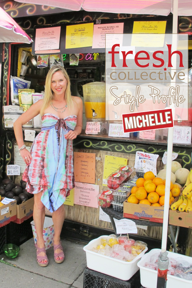 This fun dress can be changed into 10 different styles.  It suits Michelle's fun and beachy blonde look, and is fabulous for travel.  The colours are gorgeous on Michelle, and this dress can be accessorized with scarves, a light cardigan or a shrug.